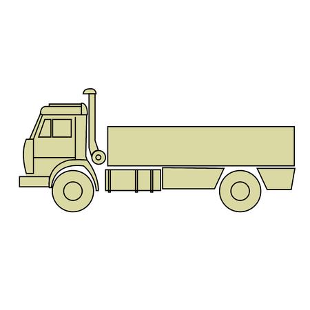Outline of cargo truck side view - freight dumper Illustration