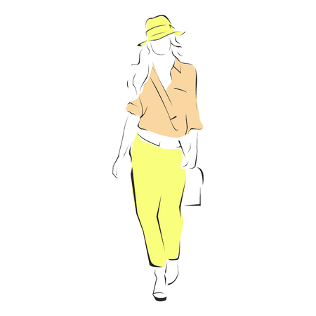 Sketch style fashion model - fashion parade, catwalk