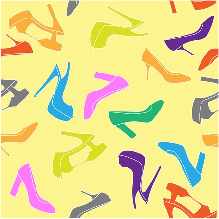 High-heeled shoe seamless background - fashion pattern Ilustração