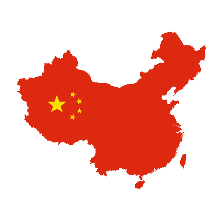 China map outline - silhouette of China state stylized as flag 向量圖像
