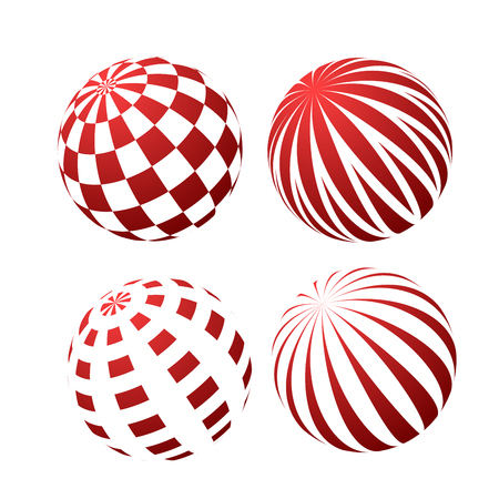 3D spheres with patterns - stripy and checked 일러스트