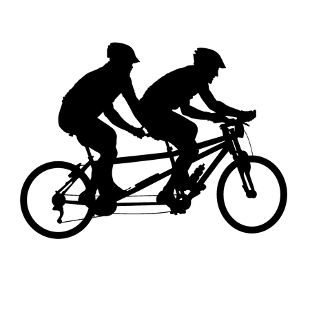Tandem bicycle silhouette - bicyclists on double bicycle Ilustrace