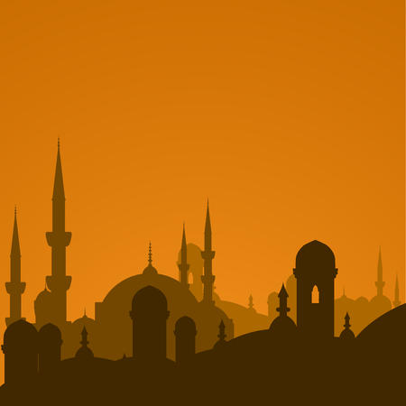 Arabic cityscape with mosque silhouette - Istanbul cityscape