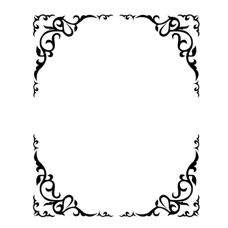 Ornate floral frame with refined vignette in corners Vectores
