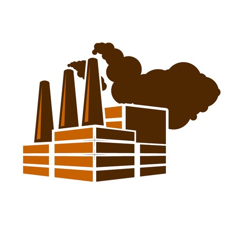 Factory smoke icon - air pollution concept, chemicals plant Çizim