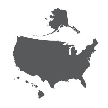 USA map outline with Alaska and Hawaii islands  イラスト・ベクター素材