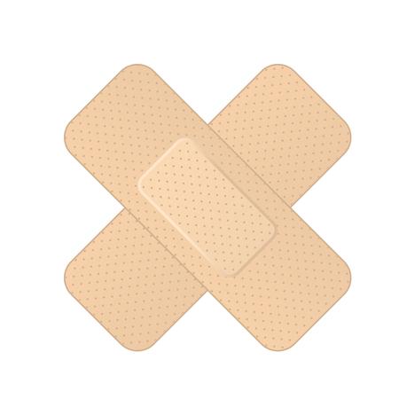 Crossed bandage icon - two crossed adhesive bandages