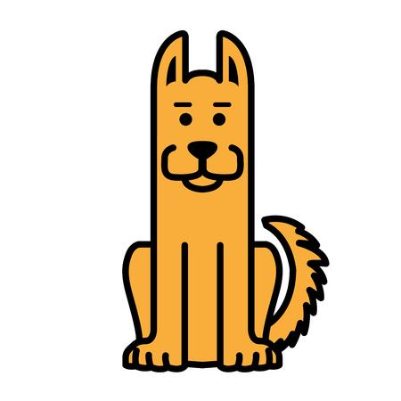 Sitting patrol dog - cute shepherd dog Illustration