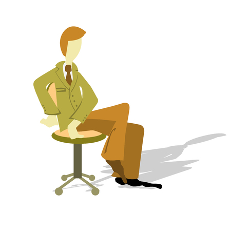 Businessman or manager sits in office chair - interview concept