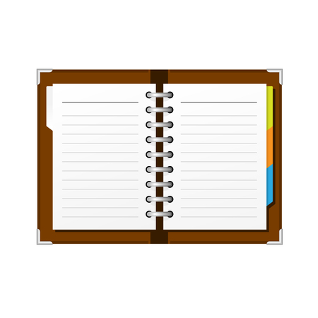 Open spiral diary or notepad - double-page spread