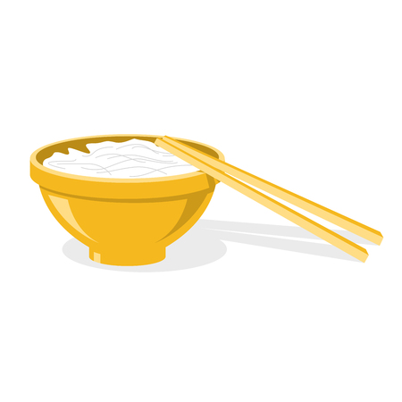 Chinese chopsticks and plate with rice or noodles Illustration