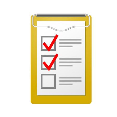 Clipboard with attached checklist - inspection symbol