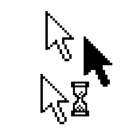 Mouse pointers - pixel arrow, hourglass icons