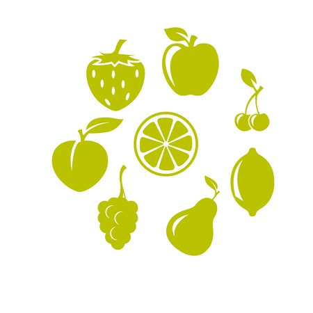 Strawberry, apple, cherries and other fruit icons