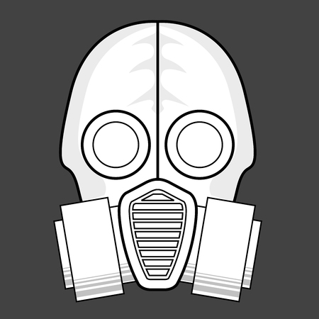 Protective gas mask  icon - respirator front view