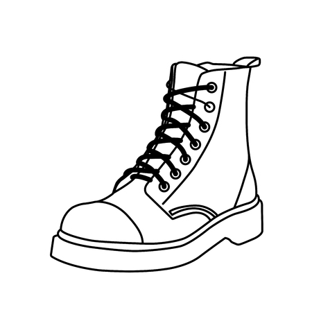 Laced up boot silhouette - outline of snug fitting shoe