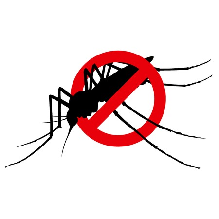 No mosquito restrictive sign -  insect extermination symbol