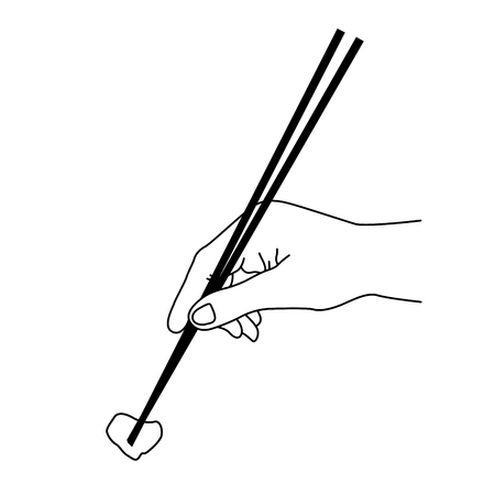 Outline of hand with chopsticks - chinese food