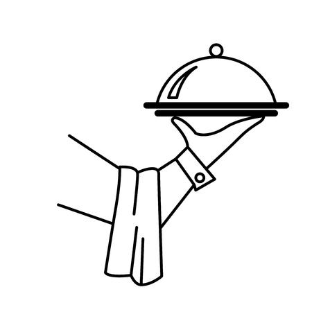 Mano del cameriere o del maggiordomo con vassoio - concetto di servizio Vettoriali