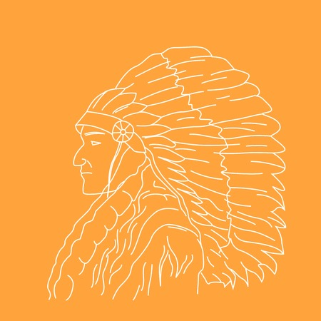 Portrait of Indian chief - head profile of tribal chief