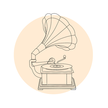 Vintage gramophone outline - retro music turntable Ilustrace