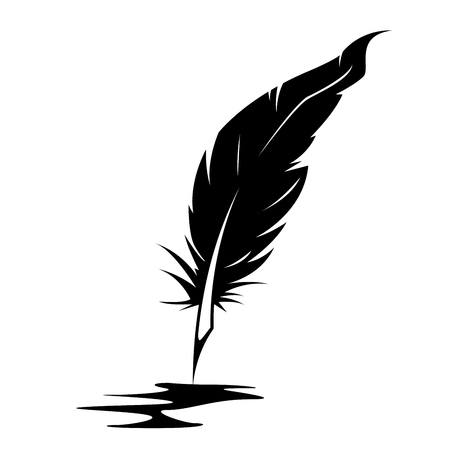 Silhouette of feather and ink blot - poetry and writer concept Ilustração