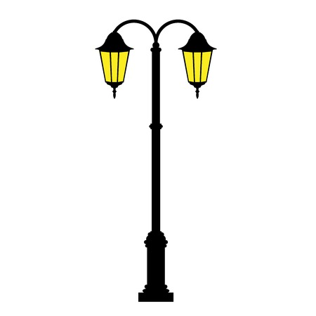 Street lamp - retro lamp post with two lanterns Stock Illustratie