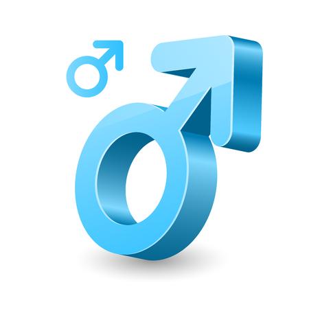 3D male gender symbol - man sign Çizim