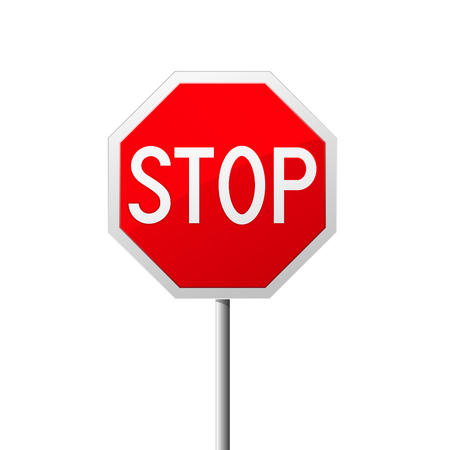 Stop road sign  - octahedral traffic sign Çizim