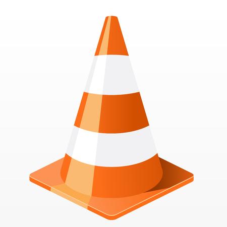Icono de cono de tráfico - trabajos de reparación de barrera de plástico Ilustración de vector