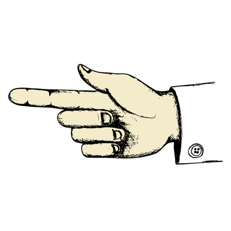 Hand with pointing finger in retro sketch style