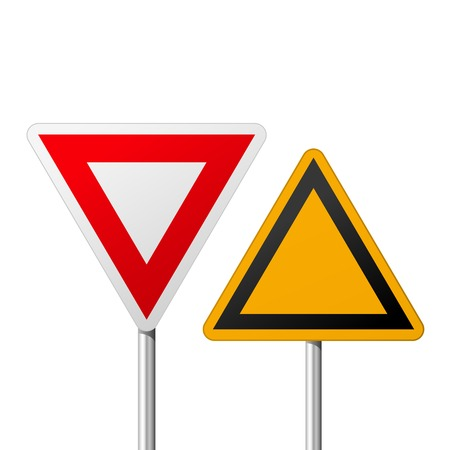 Blank road yield signs - notice symbol