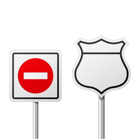 Do Not Enter road sign and blank route traffic sign Çizim