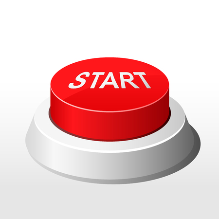 Red button with inscription Start  - launch button Çizim