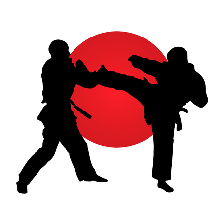 Silhouette of karate fighters