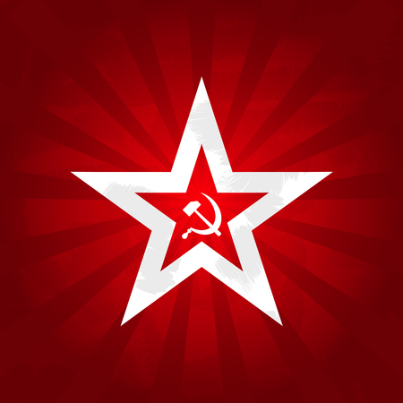 Communism symbols - red star with sickle and hammer 스톡 콘텐츠 - 105343711