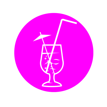Pink icon of party cocktail with straw and umbrella Çizim