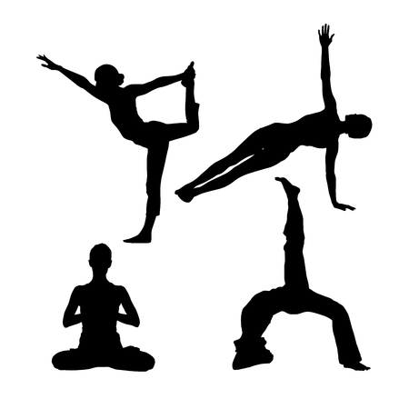 Silhouettes of people in yoga poses Çizim