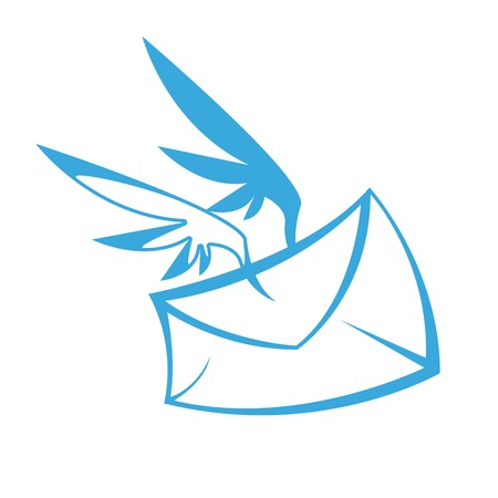 Envelope with wings - delivery of letters Çizim