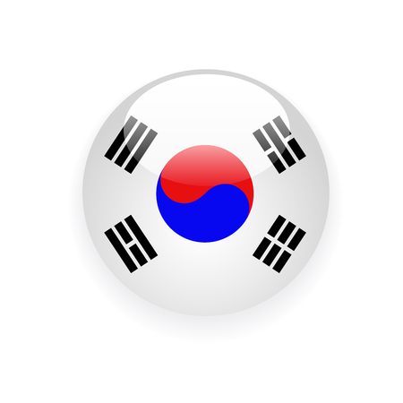 South Korea flag round button icon