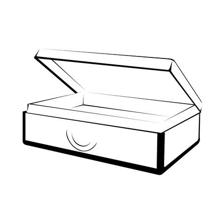 Open case outline on white background Çizim