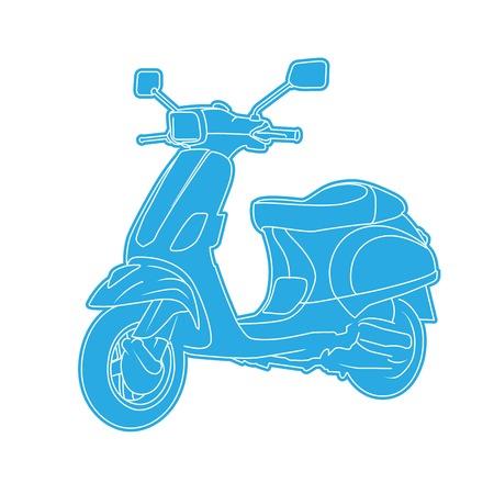Retro blue motor scooter - moped Çizim