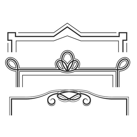 Retro line frames - decorative borders with curls