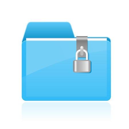Private cyan folder with lock icon