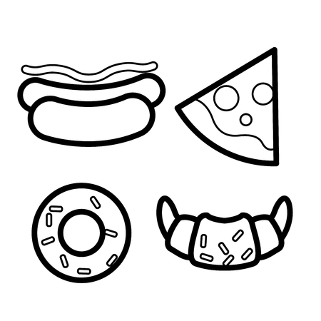Fast food icons - hot dog, pizza slice, croissant and doughnut