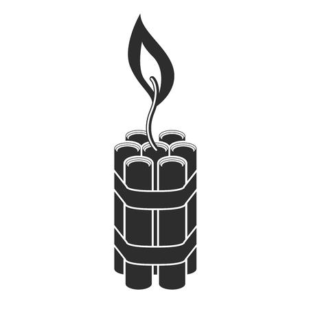 Explosion cartridge of dynamite with burning fuse - bomb
