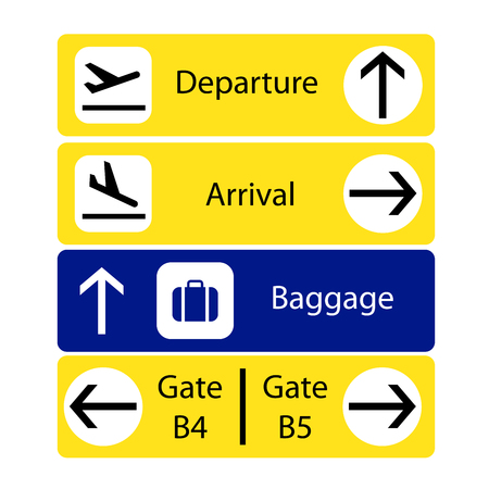 A selection of airport navigation signs
