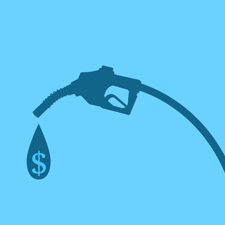 Silhouette of gasoline nozzle with petrol drop and dollar sign