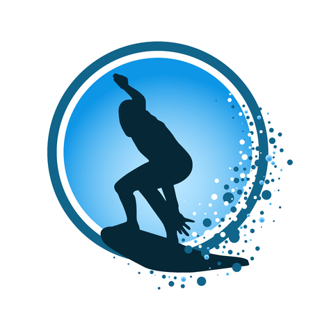Round icon of surfer with surfboard silhouette