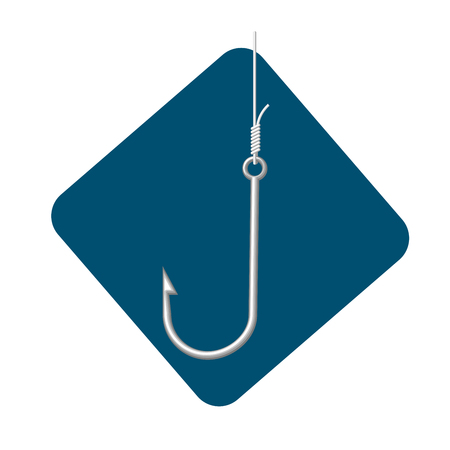 Icon of metallic fishing hook Çizim